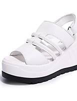 Women's Sandals Summer Creepers Leatherette Outdoor Dress Casual Wedge Heel Buckle Walking