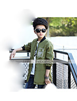 Unisex Casual/Daily Solid Trench Coat,Polyester Spring Fall Long Sleeve