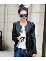 Women's Going out Party/Cocktail Sexy Cute Spring Fall Leather Jacket,Solid Round Neck Long Sleeve Regular PU