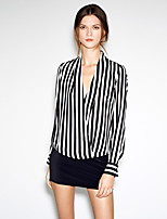 Women's Work Street chic Spring Summer Shirt,Striped Deep V Long Sleeve Polyester Medium