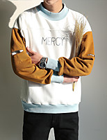 Men's Casual/Daily Sweatshirt Letter Round Neck Micro-elastic Cotton Long Sleeve Spring Fall