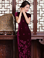 Women's Plus Size Going out Sheath Dress,Solid Embroidered Stand Maxi Short Sleeve Rayon Nylon Spring Summer Mid Rise Micro-elastic Medium