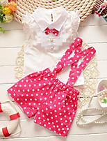 Girls' Casual/Daily Polka Dot Sets,Rayon Summer Sleeveless Clothing Set
