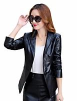 Для женщин На выход На каждый день Весна осень Кожаные куртки Воротник шалевого типа,просто Однотонный Короткие Длинный рукав,