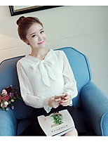 Women's Casual/Daily Simple Blouse,Solid V Neck Long Sleeve Cotton Thin