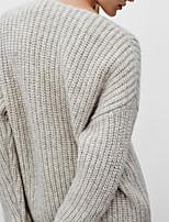 Для женщин На каждый день Простое Обычный Пуловер Однотонный,V-образный вырез Длинный рукав Хлопок Весна Осень Средняя Слабоэластичная