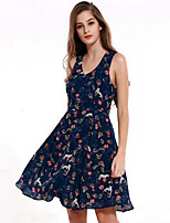 Women's Going out Casual/Daily Simple Shift Dress,Solid Round Neck Maxi Sleeveless Polyester Summer Mid Rise Inelastic Thin