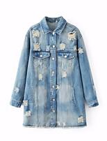 Для женщин На выход Весна Джинсовая куртка Лацкан с тупым углом,просто Однотонный Длиные Длинный рукав,Others