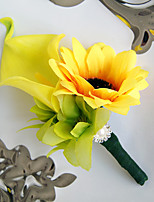Wedding Flowers Free-form Lilies Peonies Sunflower Boutonnieres Wedding Party/ Evening Yellow Satin