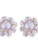 Boucles d'oreille goujon Perle Perle Alliage Original A Fleurs euroaméricains Fait à la main Bohême Forme de Fleur Blanc Violet Bijoux