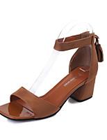 Women's Sandals Summer D'Orsay & Two-Piece Fleece Outdoor Dress Casual Chunky Heel Block Heel Zipper Black Khaki Walking