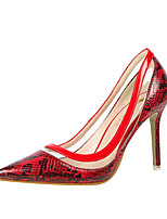 Damen-High Heels-Büro Kleid Party & Festivität-PU-Stöckelabsatz-Komfort-Silber Rot Grün Rosa Mandelfarben