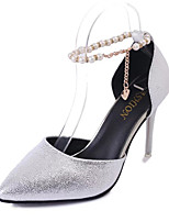 Women's Sandals Club Shoes PU Spring Summer Dress Party & Evening Club Shoes Imitation Pearl Buckle Stiletto Heel Gold Black Sliver3in-3