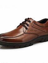 גברים-נעליים ללא שרוכים-עור-נוחות-שחור חום-שטח יומיומי-עקב נמוך