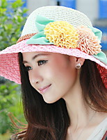 Women 's Summer Seaside Flower Decoration Sunscreen Large Brimmed Hat Straw Holiday Hat