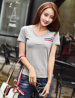 Women's Casual/Daily Simple T-shirt,Solid V Neck Short Sleeve Cotton Thin