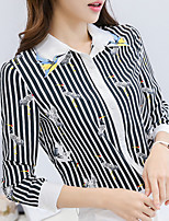 Women's Casual/Daily Work Simple Spring Summer Shirt,Striped Embroidered Shirt Collar Long Sleeve Polyester Medium