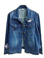 Для женщин Для клуба На выход Вечеринка/коктейль Весна лето Джинсовая куртка Лацкан с острым углом,просто Уличный стиль Цветочный принт
