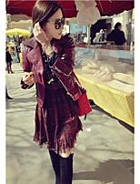 Для женщин На выход Весна Кожаные куртки Лацкан с тупым углом,просто Однотонный Короткие Длинный рукав,Others