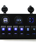 IZTOSS DC 12/24V 6 gang blue rocker switches panel with blower switch and stereo swith and 3.1A Dual USB voltmeter led power Socket pre-wired and wiri