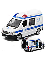 Police car Pull Back Vehicles 1:32 Plastic White Blue