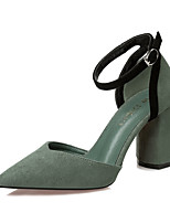 Women's Heels Spring Summer Comfort Suede Dress Chunky Heel Buckle