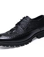 Черный Темно-красный Вино-Для мужчин-Повседневный-Кожа Полиуретан-На низком каблуке На толстом каблуке-Босоножки-Туфли на шнуровке