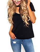 Damen Solide Sexy Einfach Ausgehen Lässig/Alltäglich T-shirt,Rundhalsausschnitt Sommer Herbst Kurzarm Polyester Mittel