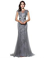 Formal Evening Dress Trumpet / Mermaid Jewel Sweep / Brush Train Tulle with Beading