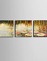 E-HOME Stretched Canvas Art Lotus Pond Autumn Decoration Painting Set Of 3