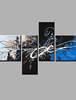 Hand-Painted Abstract Any ShapeModern Four Panels Canvas Oil Painting For Home Decoration