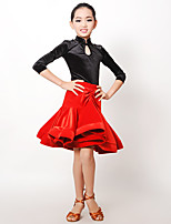 Latin Dance Outfits Kid's Performance Velvet Pleated Buttons 2 Pieces Long Sleeve Natural Leotard Skirt