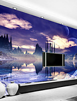 Art Deco Wallpaper For Home Wall Covering Canvas Adhesive Required Mural Colored Purple Sceneryr XXXL(448*280cm)