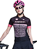 SANTIC Cycling Jersey Women's Short Sleeve Bike Breathable Sweat-wicking Jersey 100% Polyester Fashion Spring Summer Fall/AutumnLeisure