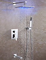 Bathroom Shower Mixer Faucet Set / 10 Inch LED Rainfall Shower Head / Hot And Cold Mixer Valve With Easy-Installation Embedded Box Included