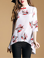 Women's Going out Sophisticated Summer Shirt,Print Stand ¾ Sleeve Silk Polyester Thin