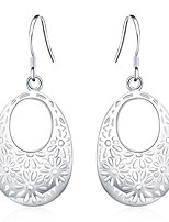Drop Earrings Euramerican Silver Plated Hollow FlowerJewelry For Daily 1 pair