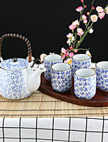 Flowery High Temperature Porcelain set with Pot (600ml) and Five cups (150ml each)