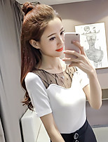 Women's Casual/Daily Simple Summer T-shirt,Solid Round Neck Short Sleeve Cotton Polyester Medium