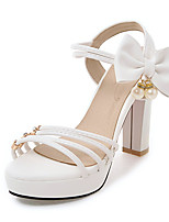 Sandals Spring Summer Fall Slingback PU Office & Career Party & Evening Dress Chunky Heel Bowknot Pearl Black Pink Purple White Beige