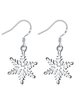 Concise Silver Plated Clear Crystal Snowflake Stud Earrings for Party Women Jewelry Accessiories