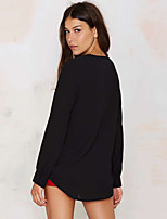 Women's Going out Casual/Daily Sexy Spring Fall Blouse,Solid V Neck Long Sleeve Black Polyester Thin