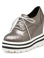 Women's Sneakers Summer Fall Club Shoes Cowhide Office & Career Party & Evening Dress Wedge Heel Lace-up