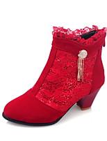 Черный Бежевый Красный-Для женщин-Для праздника Повседневный-Дерматин-На толстом каблуке-Удобная обувь-Ботинки