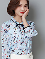 Women's Casual/Daily Simple Blouse,Print Stand Long Sleeve Polyester Thin