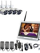 Strongshine® 4ch h.264 wireless nvr с 11-дюймовым экраном 960p водонепроницаемые инфракрасные камеры ip системы видеонаблюдения комплекты