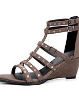 Feminino-Sandálias-Conforto Inovador Sapatos clube-Anabela-Preto Khaki-Flanelado Materiais Customizados-Ar-Livre Social Casual Festas &