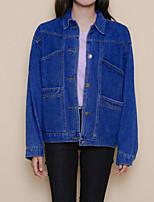 Для женщин На каждый день лето осень Джинсовая куртка Рубашечный воротник,просто Уличный стиль Однотонный Обычная Длинный рукав,Хлопок
