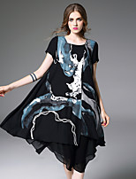 Women's Going out Casual/Daily Chinoiserie Swing Dress,Geometric Round Neck Midi Short Sleeve Polyester Summer Mid Rise Inelastic Medium