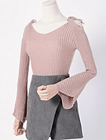 Women's Casual/Daily Simple Short Pullover,Solid Round Neck Long Sleeve Cotton Spring Fall Medium Micro-elastic